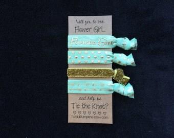 Mint Flower Girl Hair Ties, Flower Girl Gift, Mint Flower Girl Hair Ties, Mint Gold Wedding, Be Our Flower Girl, Will You Help Tie Knot