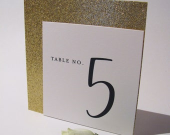 Sparkly Gold -Black/White -Table Number