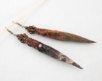 "Earrings ""pick"" Felt bead embellished with glass beads"