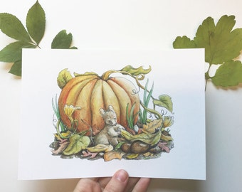 Autumn feast illustration -  A5 print - Fantasy world of Charlotte Lyng