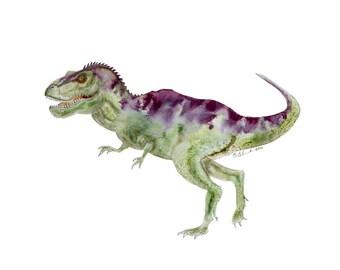 Tyrannosaurus Rex Art - Dinosaur Art Print - TRex Watercolor Print - Dinosaur Room Decor - Dinosaur Nursery Print - Kids Wall Art - Gift