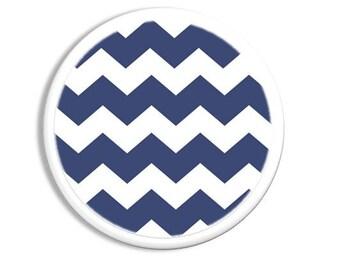 Navy Blue and White Chevron Dresser Pull - Drawer Knob, Cabinet, Zig Zag - Baby Nursery, Shower Gift - 1214PICP