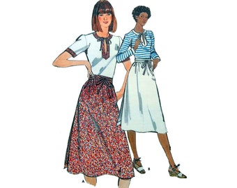 """Women's Wrap Skirt and Fitted Top Sewing Pattern Misses Size 12 Bust 34"""" Vintage 1970's Butterick 5325"""