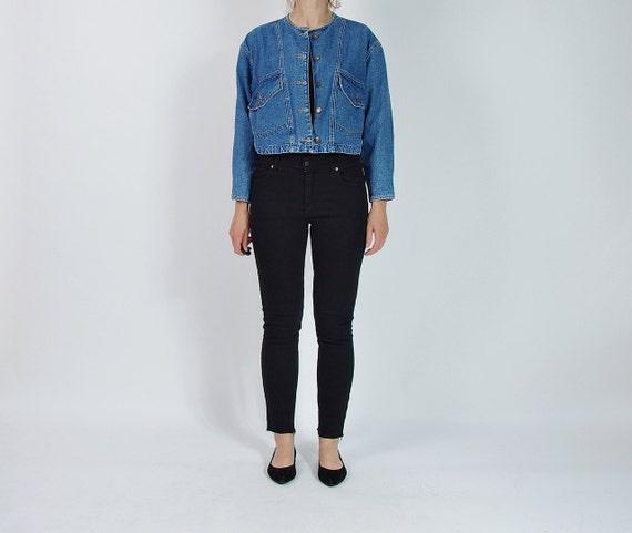 SALE - 80s Hot Zone Women Blue Denim Crop Jacket / Size M/L