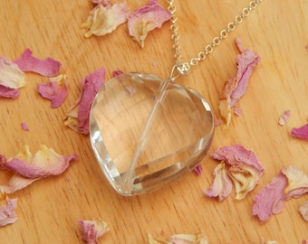 rock crystal necklace in sterling silver - heart necklace