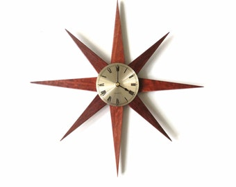 Mid Century Sunburst Clock, Handmade Mid Century Modern Home Wall Decor, Australian Jarrah Wood Starburst Clock, Sun Burst Clock