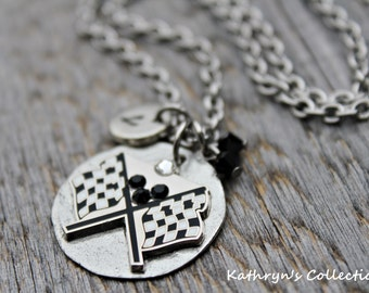Racing Necklace, Racing Fan Jewelry, Checkered Flag Necklace, Nascar, Racing Jewelry
