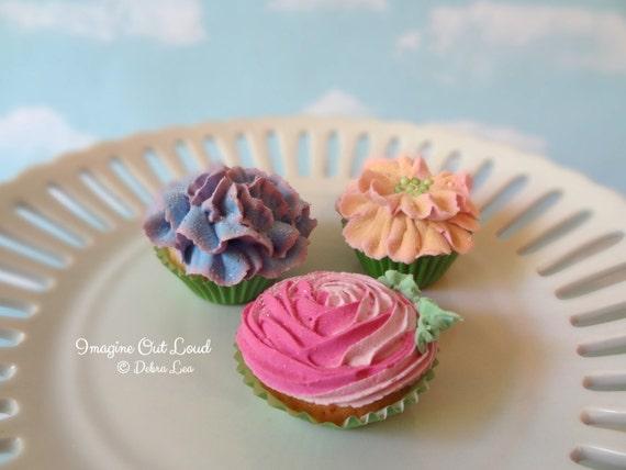 Fake Cupcake MINI Floral Buttercream Spring Garden Bouquet Set 1