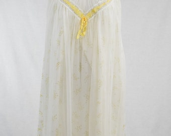60s Yellow Floral Cotton & Chiffon Babydoll Nightgown // Mad Men