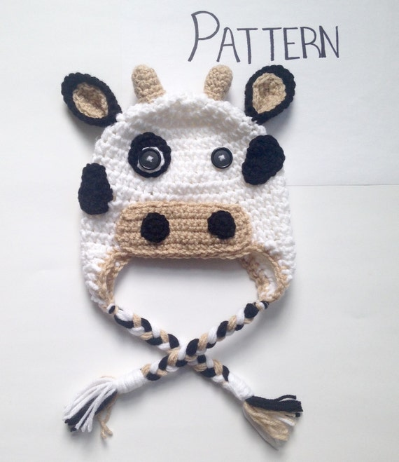 Crochet Pattern Cow Hat : PATTERN Crochet Cow Hat Pattern All Sizes by CraftedVisions