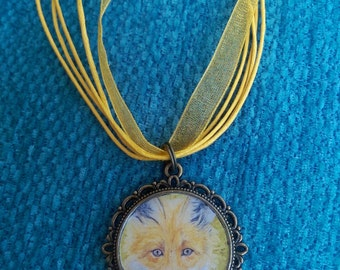 Red Fox totem antique brass effect pendant/ necklace