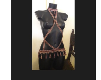 "Body harness ""Tara"" - Gypsy Tribal Belly Dance Boho Festival Burning Man Coachella"