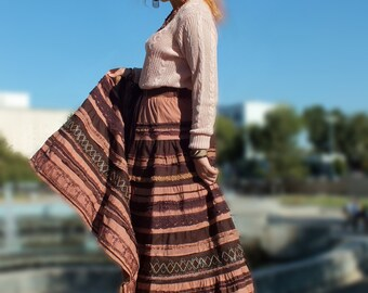 Gypsy clothing Bohemian Long skirts for women Cotton fabric Boho style Gypsy clothing Brown colour Hippie apparel Plus size Midi