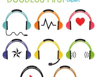 Colorful Headphones Clip Art for Scrapbooking Card Making Cupcake Toppers Paper Crafts