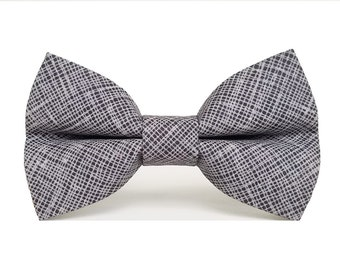 Dog Bow Tie, Dog Bow, Chalk Slate (Black/Gray), Removable Dog Accessory for Pet Collar