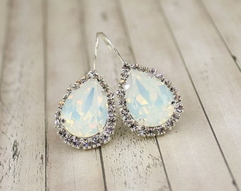 Opal Earring Opal Bridesmaid Jewelry Opal Bridal Earring Bridal Jewelry Bridesmaid Jewelry Teardrop Earring Crystal Earring Diamante October