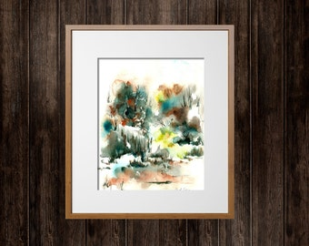 Abstract Landscape Painting, Original Watercolor Painting, Watercolour Art, Nature