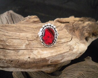 Size 8.5 Red Paua Shell Ring Handcrafted Signed Piece