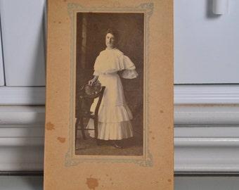 Cabinet Card Photo Victorian Woman in White Dress Chillicothe Ohio Anna Patterson