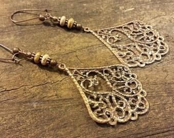 Copper Filigree Earrings, Metal Earrings, Boho Earrings, Dangle Earrings, Drop Earrings,Teardrop Earrings