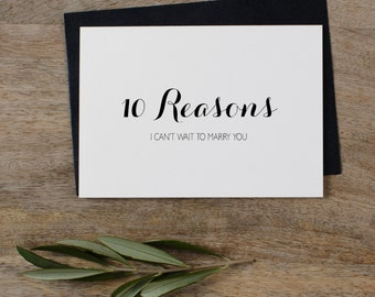 10 Reasons I Can't Wait To Marry You, Wedding Card to Bride or Groom, Groom Card, Bride Card, Card To My Groom, To My Bride, K6
