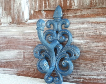 Slate Blue Wall Hook - Large Towel Hook - Coat Rack - Coat Hook - Cast Iron Hooks - French Country Entryway Hook - Bathroom Towel Rack