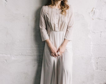 Nude Cotton Wedding Dress With Lace Edging