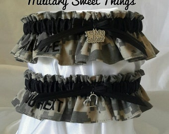 Army Wife Embroidered ACU Bridal Garter Set - Black