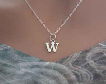 Sterling Silver Lowercase W Initial Charm Necklace, W Initial Necklace, Large W Letter Necklace, W Necklace, Typewriter W Initial Necklace