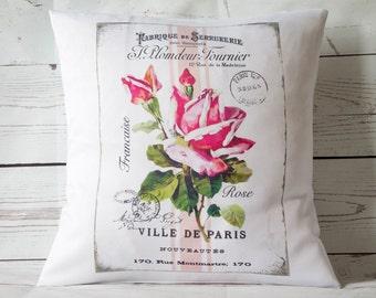 "Paris Fushia Rose - 16"" Cushion Pillow Cover French Shabby Vintage Chic - UK Handmade"
