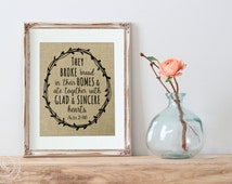 Burlap Print Easter Decoration   Bible Verse Art   Home Decor   Glad and Sincere Hearts   Easter Scripture Verse   Bible Verse Print