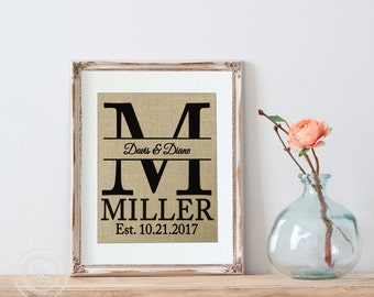 Personalized Wedding Gift, BURLAP Personalized WEDDING Gift MONOGRAM Wall Art - Family Name Sign with Monogram & Established Date