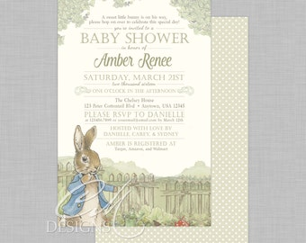 Peter Rabbit Baby Shower Invitation With or Without A Backside Pattern