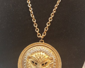 FREE  SHIPPING  Gold  Lion  Pendent