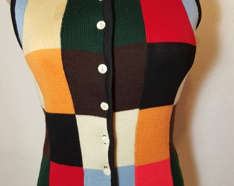 FREE  SHIPPING   Vintage Mod Wool Sweater Vest
