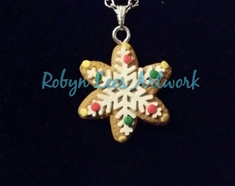Christmas Gingerbread Snowflake Cookie Biscuit Clay Necklace with Icing and Sprinkles