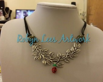 Ancient Greek Style Choker Necklace with Large Silver Branch of Leaves, Red Turquoise Skull and Olive Beads on Black Suede Cord