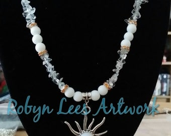 White Art Nouveau Sun Necklace with White Czech Glass Stone, Milky White Beads, Sea Opal Chip Beads and Orange Crystal Spacer Beads