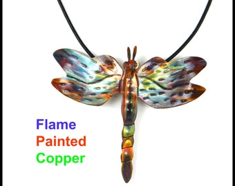 flame painted necklace, torched copper, dragonfly pendant, dragonfly necklace, dragonfly jewelry, oxidized copper necklace, made in Canada