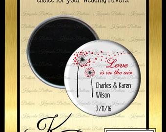 "2.25"" Custom Wedding Magnet, Wedding Favors, Love Is In The Air Wedding Favor, Custom Wedding Favors, Wedding Keepsake, Refrigerator Magnet,"