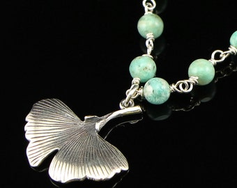 Sterling Silver Ginkgo Leaf Pendant on Amazonite & Sterling Silver Chain Necklace