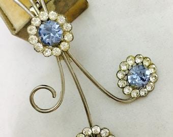 Vintage Silver Toned Rhinestone Triple Flower Brooch