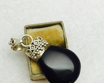 Vintage Onyx and Sterling Silver Pendant with Cannetille Embellishments