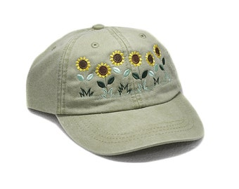 Sunflowers hat, baseball cap, embroidered hat, flower, gardening hat, sun hat, fall hat, floral hat, garden cap, autumn hat, garden hat