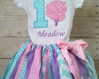 1st Birthday Cotton Candy Fabric Tutu Outfit