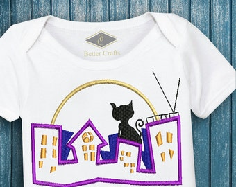 50% OFF City Cat | Machine Embroidery Applique Design 4 Sizes