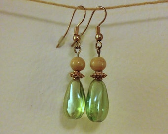 green and tan glass drop earrings