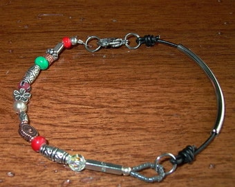 leather and beaded ankle bracelet