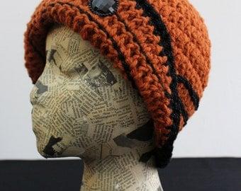 Pumpkin Orange Crocheted Cloche with Turned Brim and Black Sparkle Stripes