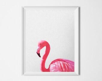 Flamingo Print, INSTANT DOWNLOAD Animal Print, Printable Art, Pink Print, Animal Poster, 16 x 20 Poster, Summer Poster, Bird Print, Hot Pink